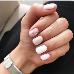 60 Must Try Nail Designs for Short Nails Short Acrylic Nails; Chic and fun Nails; Love Nails, Pink Nails, Glitter Nails, My Nails, Sparkle Nails, Silver Glitter, White Shellac Nails, Short Nail Manicure, White Manicure