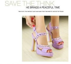 solid color high heeled shoes