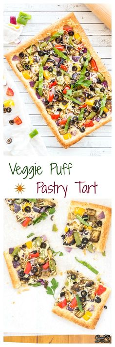 Loaded with veggies, this Vegetarian Puff Pastry Tart is easy to whip up and high on flavors! #CalOlivesMedRecipe #vegetarian @CalRipeOlives