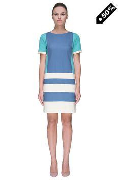 Ocean-Color Striped Dress
