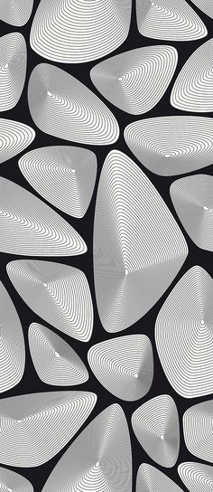 """Ocean Shells - Black by Lars Contzen """"the inability to stay focus on the off-centered point in any one shape, captures me"""" Pattern Dots, Pattern Texture, Pattern Design, Geometry Pattern, Op Art, Graphic Patterns, Print Patterns, Art Expo, Zentangle Patterns"""