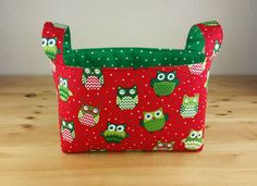 Festive Owl with Green Dot ~Medium Fabric Basket Storage Bin