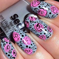 Art Nails: blue-gray background with pink roses.