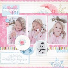 Snow layout. Love the colors and design. #scrapbook #pink #layout