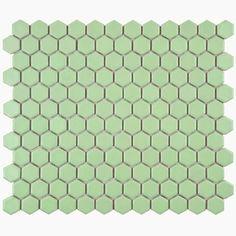 "Retro Hexagon 0.875"" x 0.875"" Porcelain Mosaic Tile in Matte Light Green"
