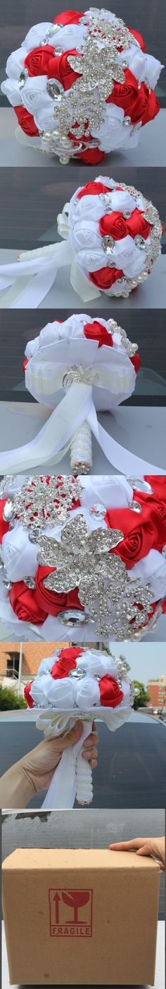 RED Bouquet for Marriage White Red Crystal Broaches Bridal Bouquet Diamond…