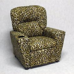 Brazil Furniture Cupholder Child Recliner - Amazon Sand Leopard - 401C-AMAZON SAND
