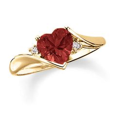Heart-Shaped Garnet Ring in 10K Gold with Diamond Accents - Peoples Jewellers