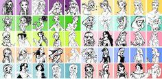Artist Sketches of Disney Princesses