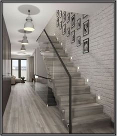 68 Inspirational Photos Of Modern Stairs Design Indoor Home Stairs Design, Home Interior Design, Stair Design, Modern Stairs Design, Modern Hallway, Interior Stairs, Modern Wall, Modern Contemporary, Glass Stairs