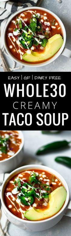 Easy Whole30 Taco Soup. This healthy whole30 taco soup is gluten free, dairy free, paleo and super quick to make. Whole30 taco soup recipe. Crock pot, slow cooker, instant pot soup recipes. Quick whole30 dinners! Whole30 recipes. via @themovementmenu