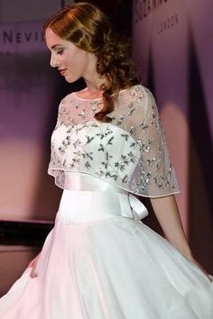 Suzanne Neville 'Nostalgia' bridal gown with mini sheer embroidered cape