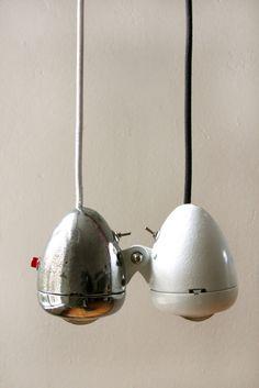 lampadario con fanali vecchie bici - vintage bike light pendants