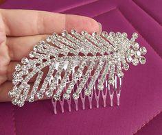 rhinestone bridal hair comb wedding hair comb by nellylukan, $48.00