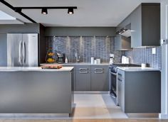 Contemporary Small Loft Interior Design : Grey Kitchen With Grey Wall Tiles