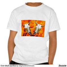 Cow skull and fire tshirt