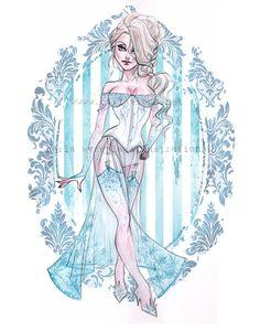 elsa frozen watercolor pin up disney princess boudoir carlations carla wyzgala Disney Pixar, Disney Pin Up, Disney Fan Art, Disney Girls, Disney And Dreamworks, Disney Love, Tinkerbell Disney, Naughty Disney Princesses, Disney Villains