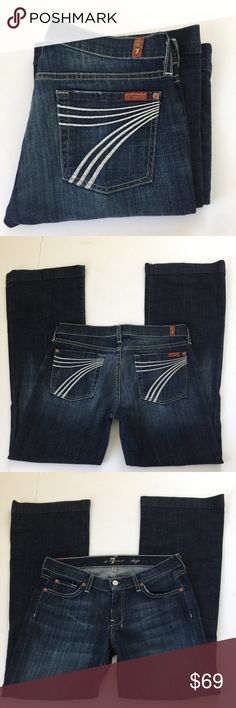 7 for all mankind Dojo Jeans, 28 x 30.25 7 for all mankind Dojo Flare Jeans in size 28. Flat lay measure of the waist is approximately 16. Rise is approximately 8, inseam has been professionally altered to an inseam of 30.25, and leg opening is approximately 10.5. Features a dark blue wash with white large 7's on the rear pockets, factory fading, whiskering and grinding. Made from 98% cotton and 2% spandex. In overall very good condition, please look at all photos and ask if you have any…