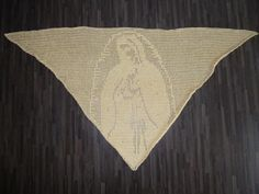 Gehaakte omslagdoek met Maria afbeelding