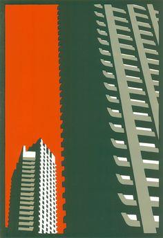 Ecology Design, Cityscape Art, Barbican, A Level Art, London Art, Architecture Details, Architecture Posters, Linocut Prints, Architecture Sketches