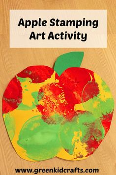 An apple print art activity for fall. Use paint and apples to make the prints; then trim the artwork into apple shapes and paper leaves.