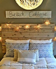 Beach Sign Above Headboard Beach Theme Guest Bedroom with DIY Wood Headboard, Wall Art, and Lots of Annie Sloan Chalk Paint House, Bedroom Themes, Beach House Decor, Bedroom Diy, Cottage Decor, Diy Wood Headboard, Beach Cottage Decor, Beach Themed Bedroom, Guest Bedroom Diy