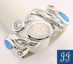 S8 Gorgeous White Blue Fire Opal Gemstones 925 Sterling Silver Ring Size 8   eBay