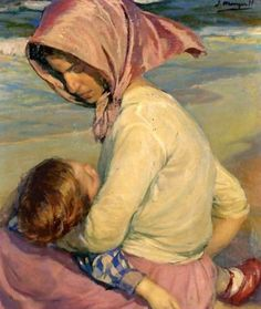 Mother and Child -- by Jose Mongrell Torrent (1870--1937, Spanish)