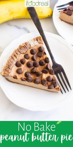 This No Bake Peanut Butter Pie is smooth, creamy, rich, and surprisingly healthy. This is a peanut butter pie without cream cheese, cool whip, or a graham cracker crust – and yet you'll literally watch it disappear in front of your eyes at any dinner or gathering! Healthy Brunch, Healthy Breakfast Recipes, Healthy Desserts, Snack Recipes, Healthy Eats, Banana Sandwich, Healthy Pumpkin Pies, Chocolate Pie Recipes, Healthy Peanut Butter