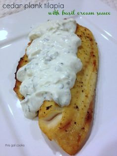 Cedar Plank Tilapia with Basil Cream Sauce - low carb - This is bursting with flavor!!!
