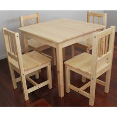 *Xmas Preorder Special* Solid NZ Pine Child Table + Four Chairs - Click Image to Close Dresser Furniture, Wood Pallet Furniture, Refurbished Furniture, Furniture Styles, Furniture Plans, Table Furniture, Furniture Design, Street Furniture, Upcycled Furniture