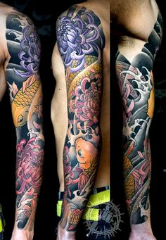 New Tattoo Sleeve Koi Irezumi Ideas Japanese Tattoo Art, Japanese Tattoo Designs, Japanese Sleeve Tattoos, Full Sleeve Tattoos, Cover Up Tattoos, Arm Tattoos, Asian Tattoos, Buddha Tattoos, Bodysuit Tattoos