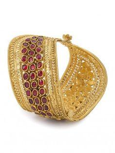 Ethno Hinged Opening Silver Bracelet by Amrapali