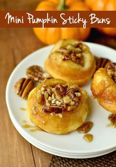 Mini Pumpkin Sticky Buns. 5 ingredients and absolutely irresistible! | iowagirleats.com