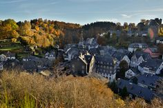 This is the pretty village Monschau in Germany. Such a magical and peaceful place. Peaceful Places, Photo S, Travel Photography, Germany, Mountains, Pretty, Nature, Naturaleza, Deutsch