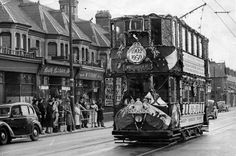 Old Faithful - the last surviving tram in Cardiff on its last journey - in February 1950