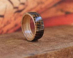 Featured listing image: Whiskey Barrel Wood Ring - Whiskey Barrel Ring Wooden Ring Men Wedding Band Women Engagement Ring Wood Anniversary Reclaimed Wood