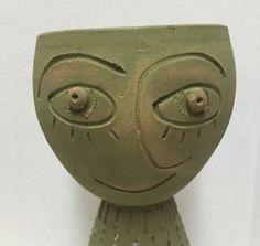 Terra-Cotta-Face-Planter-Green-Pedestal-Abstract-Made-in-Honduras-11-inches-Pot