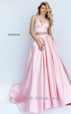 82f0e5e96f0 V Neckline 2016 Bright Pink 2 Piece Ivory Long Satin Ball Gown Sherri Hill  50053   2018 Cheap Formal Gowns   Prom Dresses Custom Online