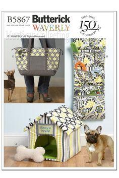 5867 Butterick Pattern ~ Indoor Pet House, Bone Toy, Organizer, Mat, Carry Bag