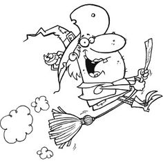 Scary Flying Witch Halloween Coloring Page Halloween Coloring Pages, Coloring Pages For Kids, Gifs, Painting Templates, Flying Witch, Wreck It Ralph, Good Old, School Projects, Disney Pixar