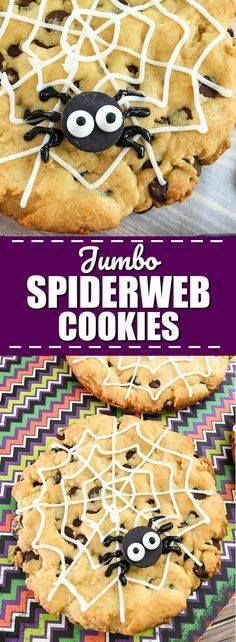 Jumbo Spiderweb Cook Jumbo Spiderweb Cookies Recipe for Halloween - Jumbo Spiderweb Cookies are a fun quick and easy Halloween treat for kids. Theyre big enough to share and made with the all-time BEST chocolate chip cookies recipe. How fun! My kids will love these! Definitely making for their Halloween party treat! Recipe : ift.tt/1hGiZgA And My Pinteresting Life | Recipes, Desserts, DIY, Healthy snacks, Cooking tips, Clean eating, ,home dec  ift.tt/2v8iUYW  Jumbo Spiderweb Cook Jumbo Spiderweb Cookies Recipe for...