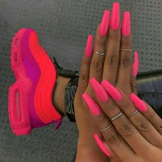 Nail art designs, check out the super leading nail post demo for that amazingly superlative nails. Bright Summer Acrylic Nails, Neon Acrylic Nails, Neon Pink Nails, Pink Nail Art, Acrylic Nail Designs, Summer Nails Neon, Matte Pink, 3d Nails, Acrylic Summer Nails Coffin