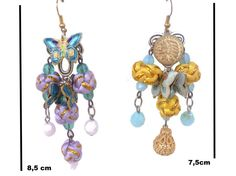 EARRING CLOISONNE BUTTERFLY baroque bucolic nevel di SissiHand