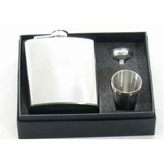 8oz Stainless Steel Hip Flask Set w/ Cups and Funnel . $14.95