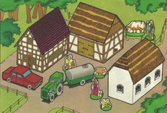 1983`s European Farm Playset Paper Model - by Fix und Foxi - == -  This European Farm Playset paper model is very easy to assemble and perfect for little kids. It was originally published in 1983 at Fix und Foxi, a German educative magazine.