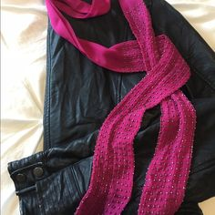 Beaded berry pink scarf GORGEOUS shear berry pink scarf with beaded details-pictures are not doing this justice. Super cool scarf only worn once. 70 inches long, 2 1/4 inches wide. Great accessory! LOFT Accessories Scarves & Wraps