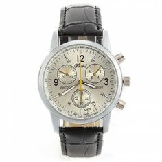 [$6.59] Quartz Wrist Watch Wristwatch Bracelet Black PU Band Strap 3 Decorative Dials