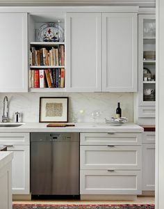 Don't overlook the space between your counter and upper cabinets!  This can be a great spot to hang / lean a piece of art that you will be sure to see every day.