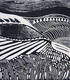 """""""Windswept"""" by Cathy King, 2011  (linocut)"""